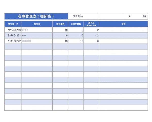 棚卸表とは 棚卸表とは在庫管理表の種類の一つで、棚卸の際に数量や金額などを一覧にして記入する表のことを指します。